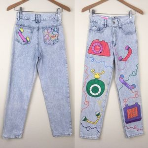 *SLIM FIT* VTG 90s Hand Painted Acid Wash Jeans